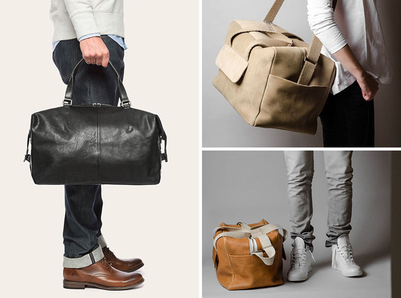leather weekend bag with the shoe compartment